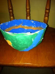 a paper-mache bowl