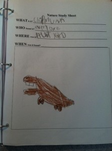 Sometimes we drew our own pictures. Can you tell this is a chipmunk?