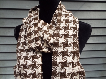 brown and white check scarf (5)